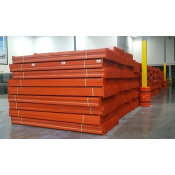 "USED TEARDROP BEAMS 144""L X 4.5""W, INTERLAKE 45E, 3050 LBS CAP/SHELF UDL, ORANGE"