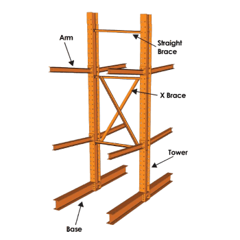 "CANTILEVER ST ARM 60""L X S4 X 7.7, ORANGE"