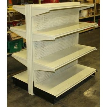 """New Gondola Shelving Double Side Starter Unit: Size 48""""W X 52""""H with  18"""" base, two 16"""" shelves and one 12"""" upper shelves both sides"""