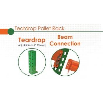 Used Teardrop Style Pallet Rack Beams